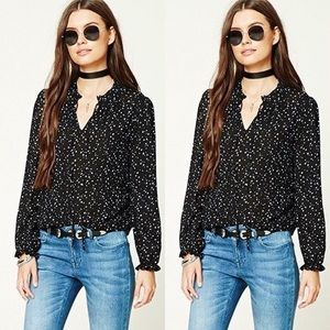 Black Star Print Top